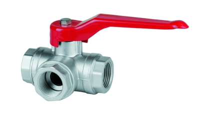 Female three-ways ball valve with reduced flow